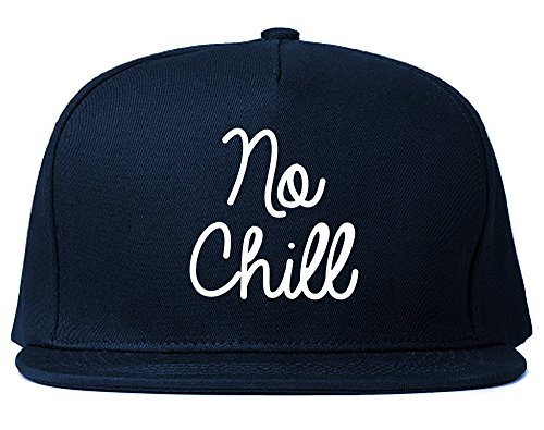 No Chill Funny Vibes Chest Snapback Hat Navy - Hat Chill No
