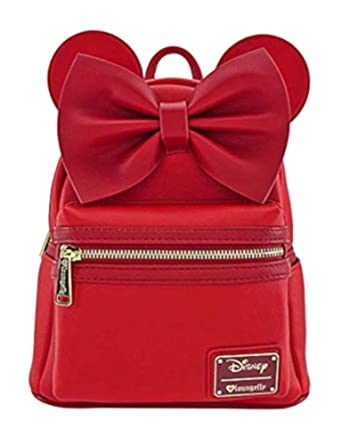 bf8c0fc52b4 Amazon.com  Loungefly Minnie Mouse Red Faux Leather Mini Backpack ...