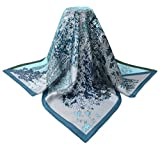 corciova 35'' 14 Timmy Twill 100% Real Mulberry Silk Square Women Scarfs Scarves Bizzard Blue Silver Lion Goat Trees Patterns