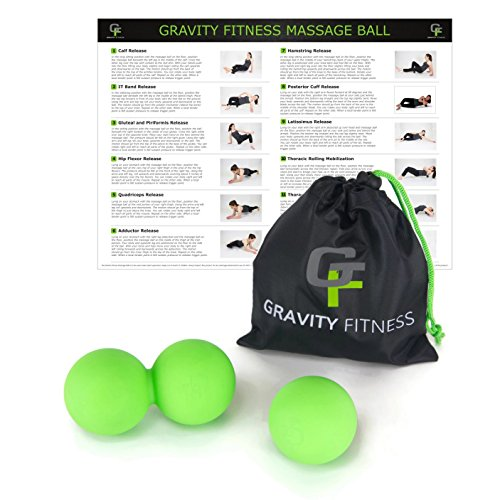 Gravity Fitness 2-in-1 Massage Ball Set, Includes Both Peanut and Single Ball, Silicone Material for Premium Feel and Durability, Includes Free Storage Bag and Exercise Guide. (Black)