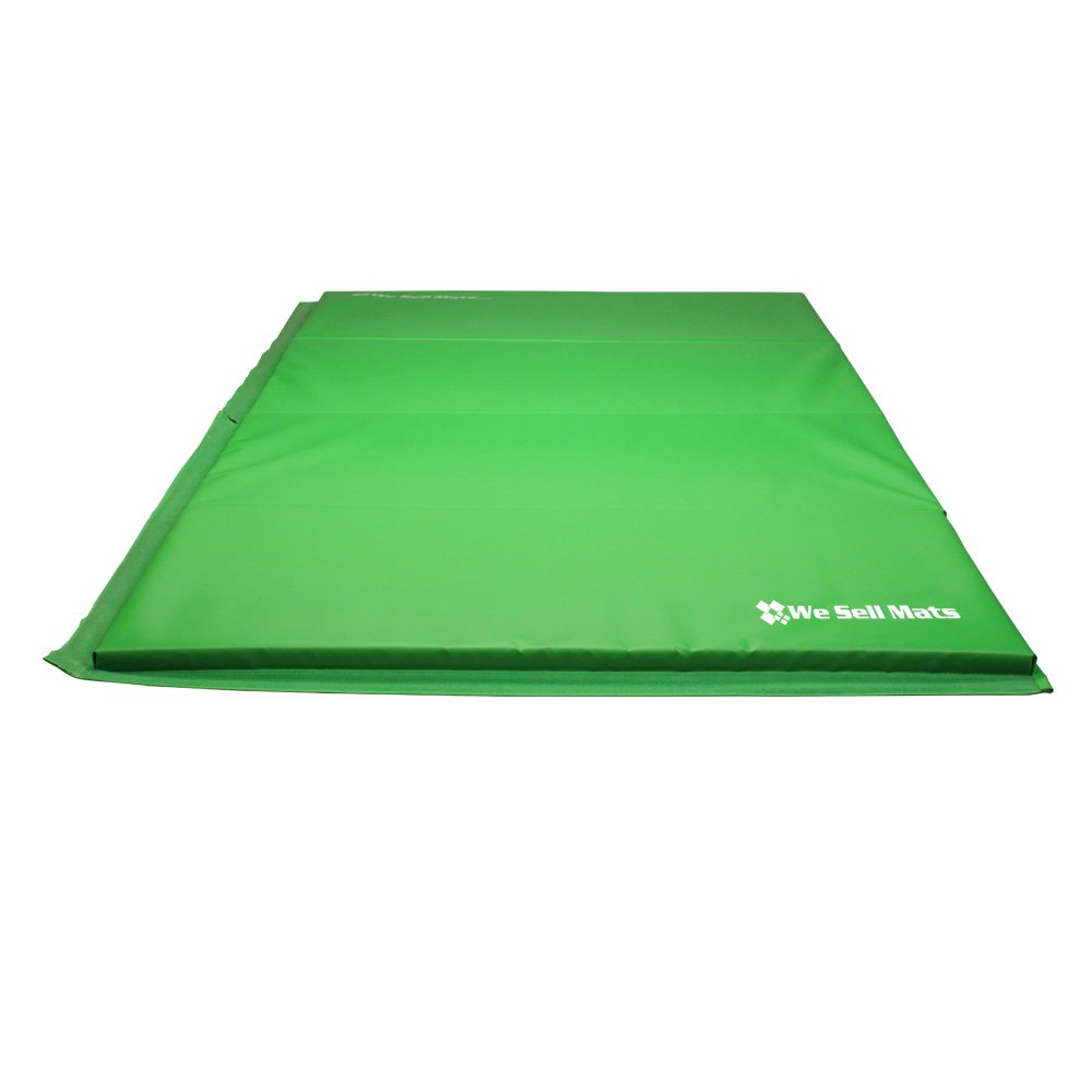 We Sell Mats GM4x8LMGv4-50M Lime Green 2'' Thick Gymnastics Tumbling Exercise Folding Martial Arts Mats with Hook & Loop Fasteners On 4 Sides Crosslink PE Foam Core by We Sell Mats (Image #3)