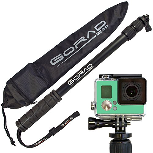 GoRad Gear Selfie Stick for GoPro Hero Cameras, Waterproof, Pole Extends 17-40 Inches, Aluminum Tripod Mount and Thumb Screw, Nylon Carry Bag (black)