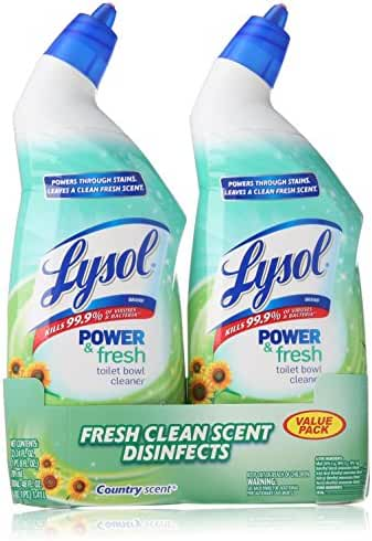 Lysol Clean & Fresh Toilet Bowl Cleaner, Cling Gel, Country Scent, 24 oz, Pack of 2