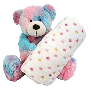 Stephan Baby Super Soft Fleece Blanket and Tie-Dye Teddy Bear Gift Set, Pinks and Blues