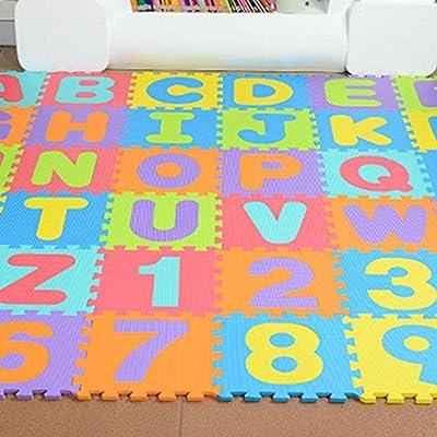 Alfombra Puzzle para Niños 36 Piezas, Colchoneta Rompecabezas Infantil,Gomaespuma EVA,Números y Letras Tamaño de Cada Pieza 15.5 x 15.5 cm: Amazon.es: Bebé