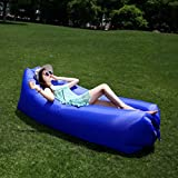 XHCsoft Inflatable Lounger Outdoor Portable Lazy Inflatable Sofa, Lunch Break Air Bed, Single Camping Beach Bed, Air Sofa (Color : Blue)