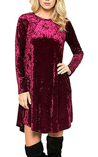 New Simple Velvet Dress Raisin (Deep Burgandy) With Pockets Comfy Trendy, Medium (Dress Burgandy Velvet)