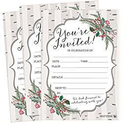 25 Woodland Christmas Holiday Invitations, Rustic Winter New Years Bridal or Baby Shower Invite Snowflake Kids Birthday Invitation Wedding Rehearsal Dinner Invites, Reception Anniversary, Housewarming
