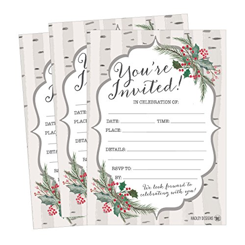 25 Woodland Christmas Holiday Invitations, Rustic Winter New Years Bridal or Baby Shower Invite Snowflake Kids Birthday Invitation Wedding Rehearsal Dinner Invites, Reception Anniversary, Housewarming -