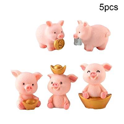 N/ hfjeigbeujfg Miniature Fairy Garden Cute Resin Money Lucky Pig Figurine Statue DIY Miniature Garden Table Ornament - A+B+C+D+E# : Garden & Outdoor