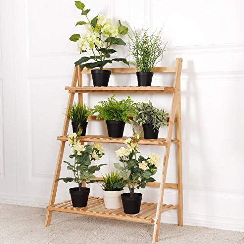 - 3 Tier Folding Bamboo Plant Shelves Stand Organizer Succulents Displaying Ladder Shelf (70cm Length)