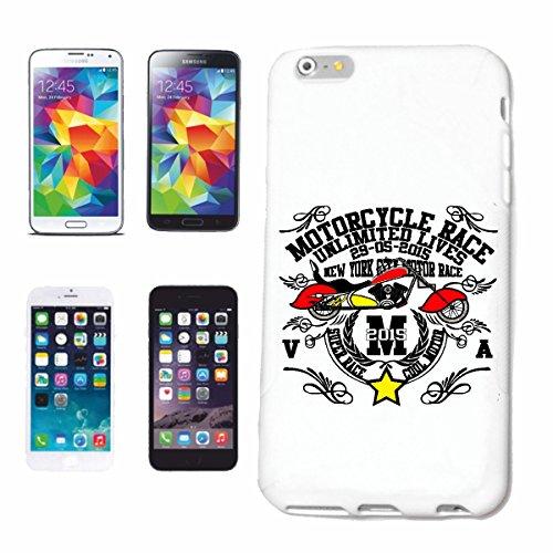 """cas de téléphone iPhone 7+ Plus """"MOTO RACE NEW YORK SUPER RACE SHIRT BIKER MOTO CHOPPER MOTO GOTHIQUE SKULL MOTO CLUB BIKE ROUTE 66"""" Hard Case Cover Téléphone Covers Smart Cover pour Apple iPhone en b"""
