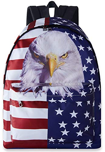 Kids Cool School Bags Red White Navy Blue American Flag White Stars and Stripes Backpack Boys Girls Waterproof Hiking Bookbags for Outdoor Sports Camping for Middle Junior High ()