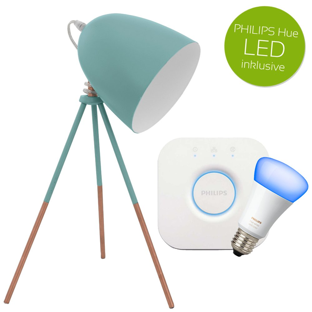 Tischleuchte Dundee Dundee Dundee Stahl mint E27 Tischlampe inkl. Philips Hue LED Weiß Ambiance & Farbe + Bridge 8affe9