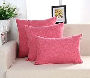 cushionliu alta calidad simple color puro algodón y lino contienen núcleo sofá almohada gran oficina cojín de pan para inclinada en de la cabeza de una cama almohadas 40* 40cm Funda de almohada + almohada Core Mei rojo