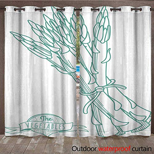 RenteriaDecor 0utdoor Curtains for Patio Waterproof Outline Hand Drawn Sketch of Asparagus (Flat Style Thin line) W72 x L108