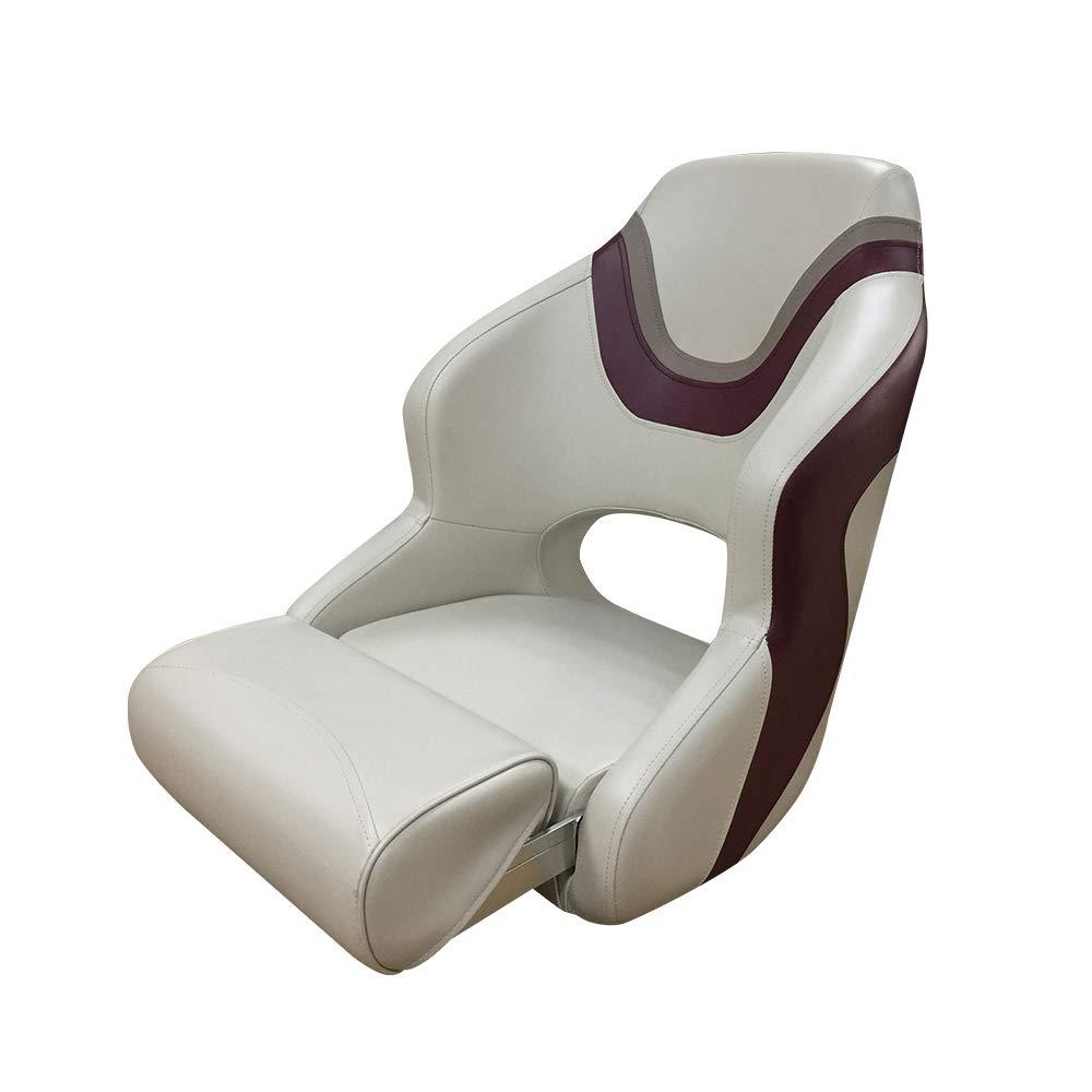 Seamander Captain Bucket Seat,Sport Flip Up Seat (4 Colors) (Ivory/Burgundy&Tan)