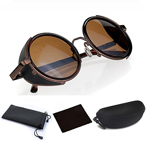 Steampunk Round Glasses, Mens Womens 50s Brown Frame & Circle Lenses Cyber Goggles Vintage Retro Design Blinder Fashion Accessories for Outside Travelling Bicycle - With Shields Sunglasses Side Steampunk