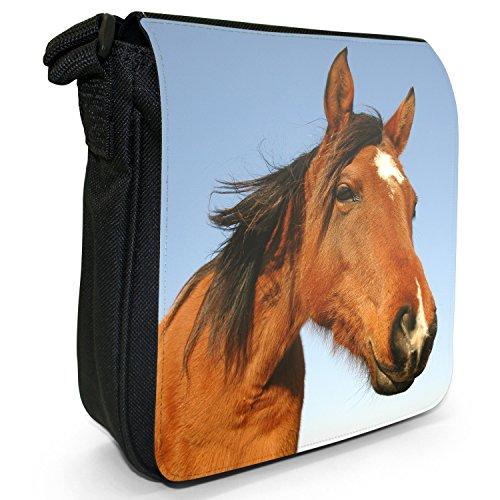 Horse Small Elegant Close Bag Beautiful Smiling Up Size Shoulder Black Canvas Brown Horses qt6Hw7f