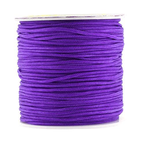 Purple Silk Thread Bracelet (Mandala Crafts 1.5mm Satin Nylon Chinese Knot Rattail Macramé Beading Knotting Cord (1.5mm,60M or 65 Yards, Purple))