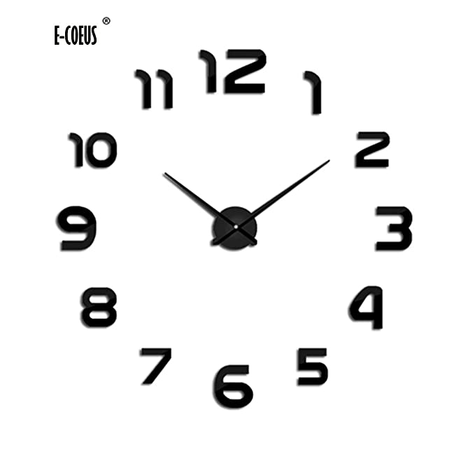 Amazon.com: E-COEOS 3D DIY Wall Clock Frameless Large Wall Decoration for Living Room Bedroom -Black: Home & Kitchen