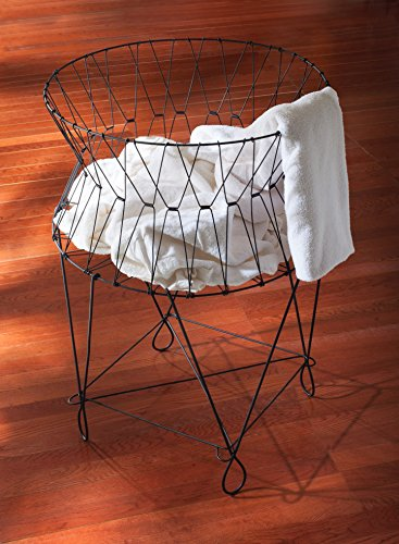 Vintage Black Wire Laundry Basket Hamper 27x27x40'' by KINDWER by KINDWER