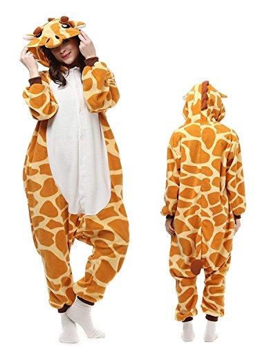 Mybei Adult Onesies Giraffe Animal Pajamas - Unisex One-Piece Cosplay Sleepwear for Women -