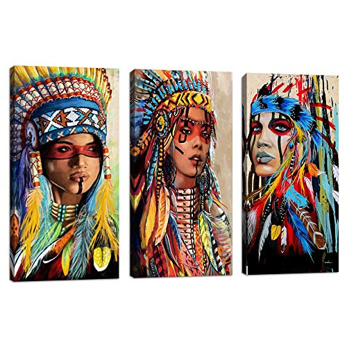 - Indian Girl Chief Native American Canvas Wall Art Feathered Women Prints Gifts Home Decor Decals for Bedroom Waterproof Posters Pictures Paintings Framed Ready to Hang (10