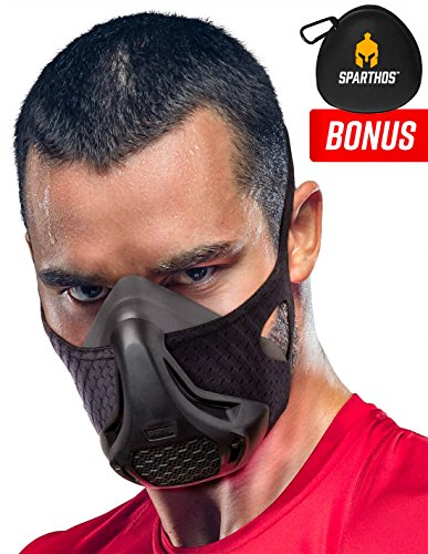 Training Mask SPARTHOS - High Altitude Masks – for Gym Workouts, Running, Cycling, Cardio, Fitness Elevation Training Mask - Hypoxic Resistance Training Mask 2 3 – Lung Exercise [M] [+Case]