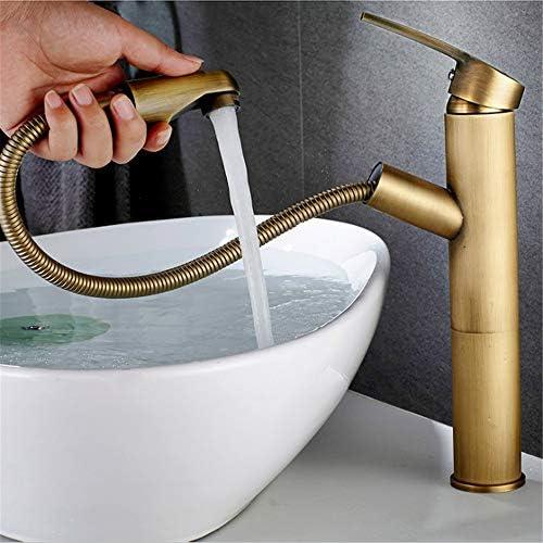 キッチン水栓 デッキマウント洗面所冷たいお湯引き出しシンクの蛇口高級ロングロング銅セラミックバルブシングルハンドル浴室の蛇口プルダウンスプレー真鍮盆地水栓 キッチンとバスルームに適しています