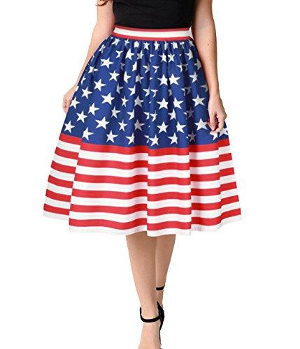 Ytwysj Women Vintage USA American Flag Printed Stars and Stripes Stretch High Waist Plain Flared Pleated Midi Skirt