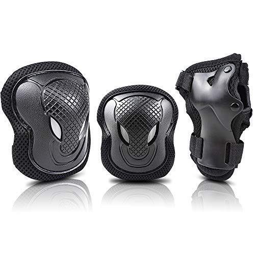 Easy_Way Knee Pad Elbow Pads Wrist Guards for Kids-Kid Youth Adult Protective Gear Set for Skating Scooter Skateboard Rollerblade Roller Skates Cycling BMX Bike Inline Riding Extreme Sports