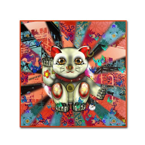 "picture of Trademark Fine Art ""Red Lucky Cat Pattern"" Artwork by Miguel Paredes, 14 by 14-Inch"