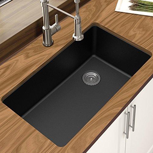 Winpro New Black Granite Quartz 33 x 18-3 4 x 9-1 2 , Single Bowl Undermount Sink