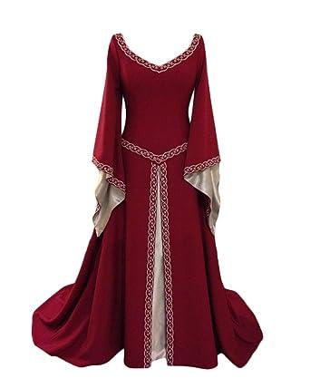 e4454a6edded Liangzhu Damen Langarm Mittelalter Kleid Gothic Viktorianischen Königin  Kostüm V-Ausschnitt Prinzessin Renaissance Bodenlänge Mehrfarbig Kleider