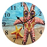NMCEO Wall Clock Starfish Funny Round Hanging Clock Acrylic Battery Operated Wall Clocks for Home Decor Creative