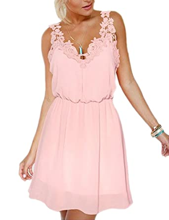 Eliffete Girls Sexy Lace Clubwear Short Chiffon Homecoming Party Prom Dresses - Pink -