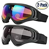 Ski Goggles, Pack of 2, Snowboard Goggles for Kids, Boys & Girls, Youth, Men & Women, with UV 400 Protection, Wind Resistance, Anti-Glare Lenses, made by COOLOO