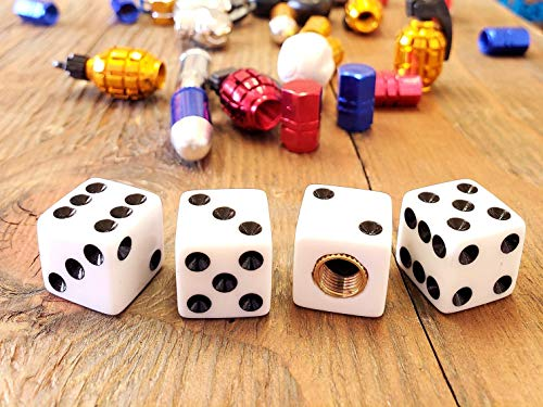 Trik Topz Dice - Kustom Kapz Four Pack White Dice Tire Valve Cap Automobile ATV Harley Truck Hotrod Cycle Trailer rv