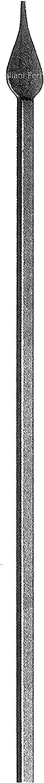 Poste de valla de hierro forjado con acabado liso y lanza puntiaguda. Altura 1200 mm. Sección en marco de 12 mm.