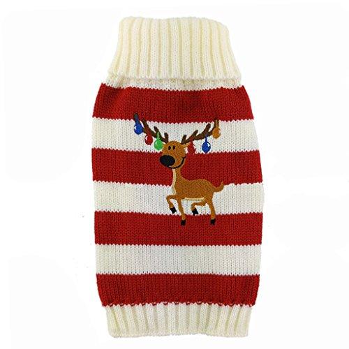 Love Pets Love PetsLove Christmas Rangifer Tarandus Dog Clothes Cat Sweaters Pet Jerseys Clothing Gear Coats Apparel Red XS