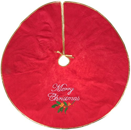 Clever Creations Merry Christmas Embroidered Tree Skirt Red and Gold | Festive Holiday Design | Traditional | Tie Closure | Helps Contain Needle and Sap Mess on Floors | 40
