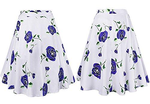 FuweiEncore Maxi Taille Floral lgante mi Longue Femmes Jupe A Jupe imprim Ligne Jupe Bleu Haute Femmes Jupe Swing rnqWFSr6a