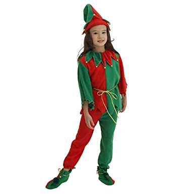 58853e979 Meeyou Kids Elf Costume Santa's Helper,Christmas Dress Up for Boys/Girls ,Size