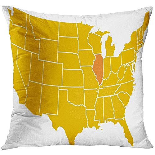 LUDEM Throw Pillow Cover Orange Midwest Map of Illinois Placement in The United States Chicago Geography Decorative Pillow Case Home Decor Square 18x18 Inches Pillowcase