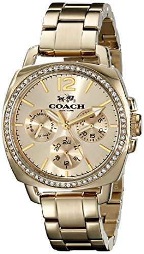 Coach Watch Gold - Coach Womens 14502127 Mini Boyfriend Gold Tone Stainless Glitz Watch