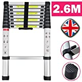 Aluminum Telescopic Ladder 2.6M 8.5FT Extension Climb Step Ladder Muti-purpose DIY Portable Ladder Easy to Carry & Storage for Home Loft Office with Anti-Slip Rubber Feet