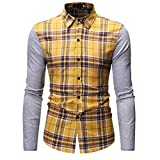 NUWFOR Men's Long Sleeve Lattice Painting Large Size Casual Top Blouse Shirts(Yellow,XL US Chest:47.2''
