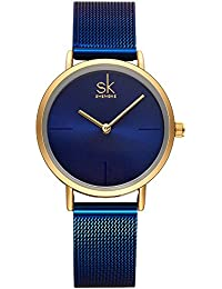 Best Watches for Women Stainless Steel Band Ladies Wrist Watch Winder Women for Sale Bracelet Quartz Discount Watch (Blue)