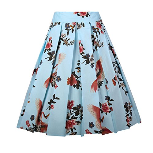 Girstunm Women's Pleated Vintage Skirt Floral Print A-line Midi Skirts with Pockets Brown-Flamingo 3XLarge ()